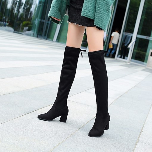 Round Toe Suede Chunky Heel Short Floss Knee High Boots for Women