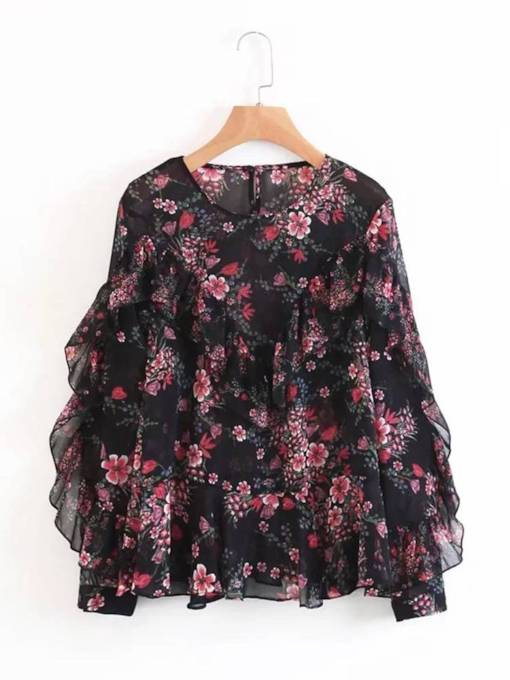 Frill Floral Round Neck Floral Women's Blouse