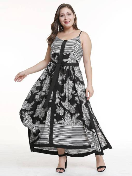 Plus Size Floral Prints Sleeveless Split Day Dress