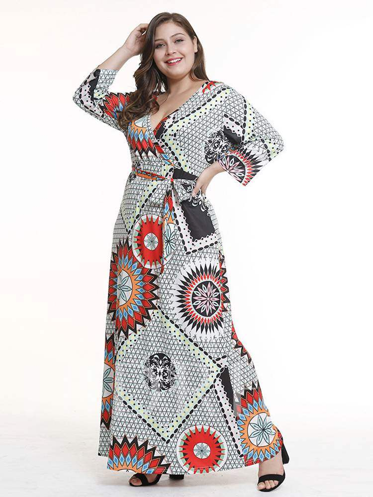 Buy Plus Size V-Neck Floral Prints Floor-Length Maxi Dress, Plusee, 13357492 for $15.07 in TBDress store