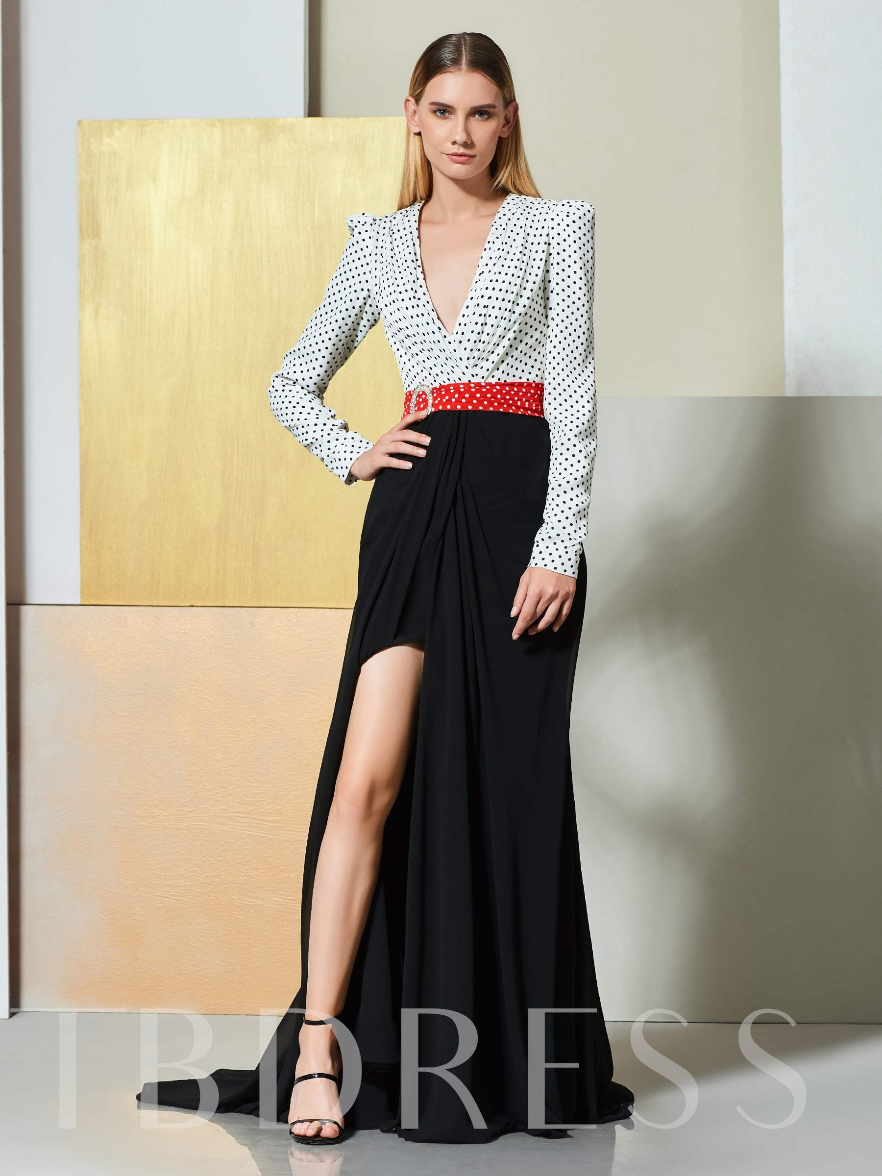 Buy A-Line Multi Color V-Neck Sashes Evening Dress, Spring,Summer,Fall,Winter, 13346067 for $163.33 in TBDress store