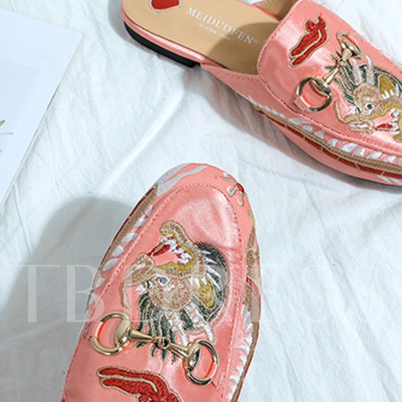 Suede Slip-On Block Heel Animal Embroidery Women's Flat Mules