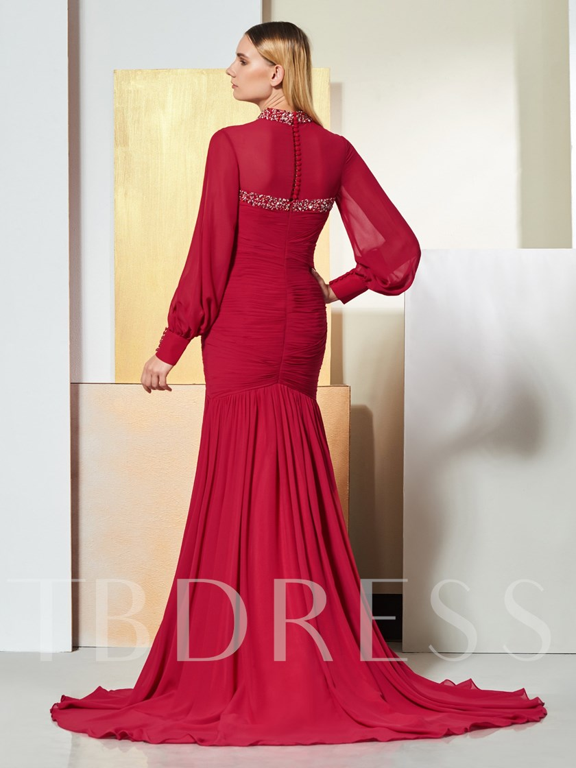 High Neck Mermaid Beaded Pleats Evening Dress