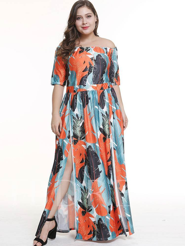 908b105d3c Plus Size Off Shoulder Prints High Waist Split Maxi Dress - Tbdress.com