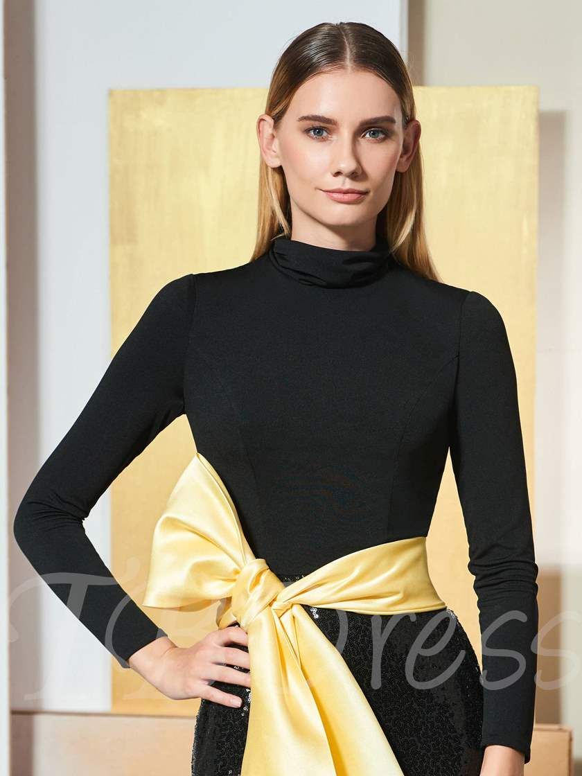 Trumpet High Neck Bowknot Sequins Evening Dress