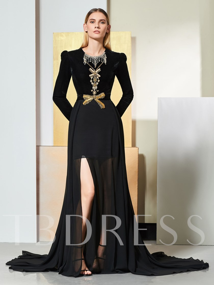 A-Line Beaded Bowknot Scoop Evening Dress
