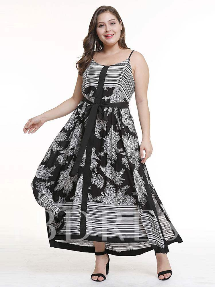 Buy Plus Size Floral Prints Sleeveless Split Day Dress, Plusee, 13347047 for $16.54 in TBDress store