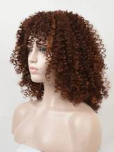 Mid-Length Kinky Curly Synthetic Hair Capless Women Wig