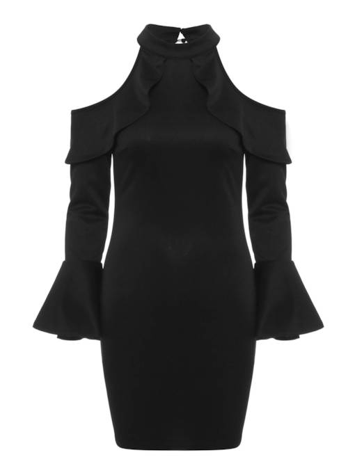 Cold Shoulder Bell Sleeve Women's Bodycon Dress