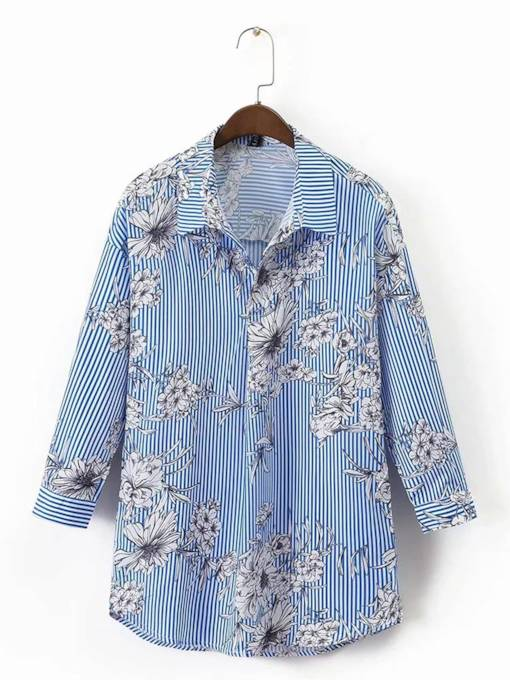 Single Breasted Floral Printed Women's Shirt