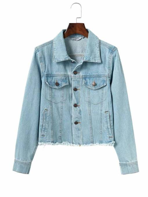 Bukle Slim Fit Short Women's Denim Jacket