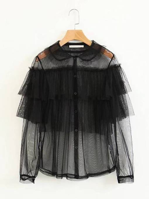 Falbala Sheer Single-Breasted Women's Shirt