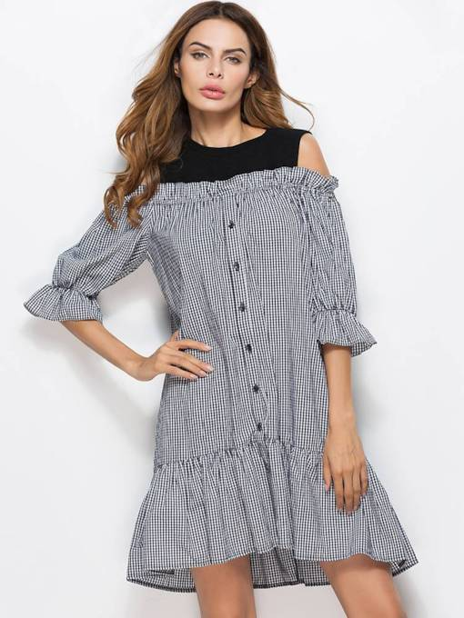 3/4Length Sleeve Casual A-Line Day Dress