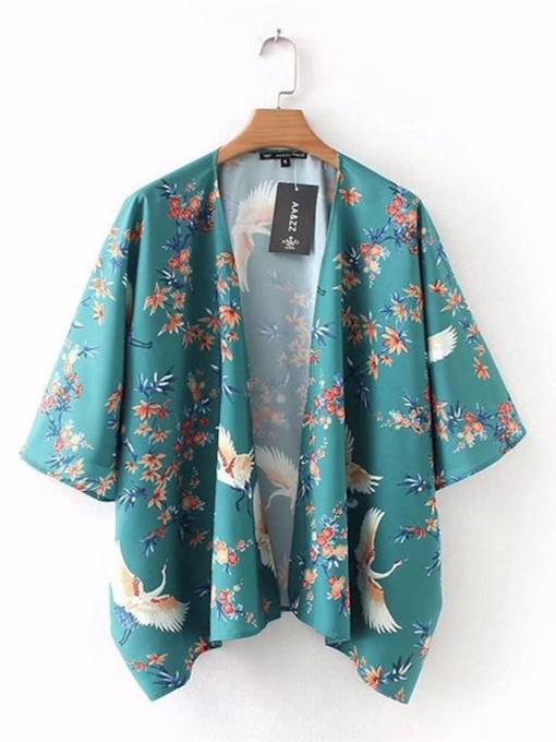 Floral Animal Printed Open Front Women's Cape