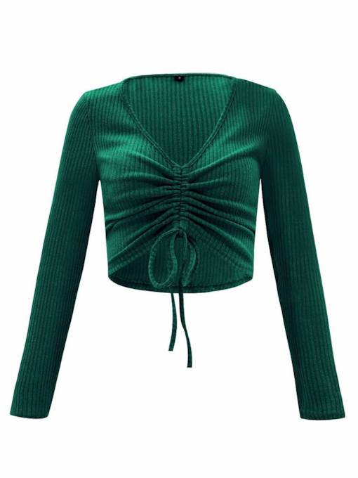 Ruched Tie Front Long Sleeve Women's Knit T-Shirt