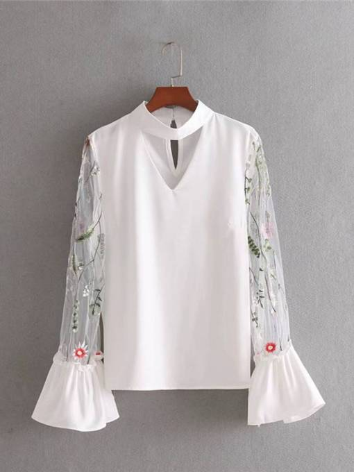Sheer Flare Sleeve Hollow Out Women's Blouse