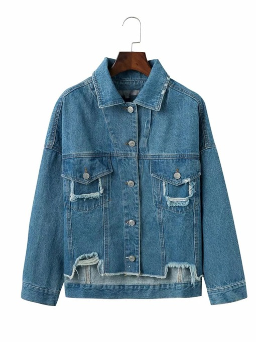 Asymmetric Button Down Ripped Women's Jean Jacket