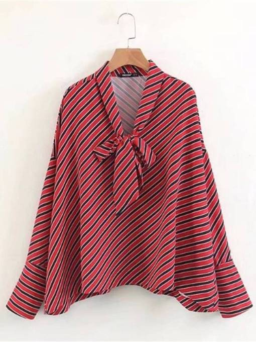 Lace Up Flare Sleeve Stripe Women's Blouse