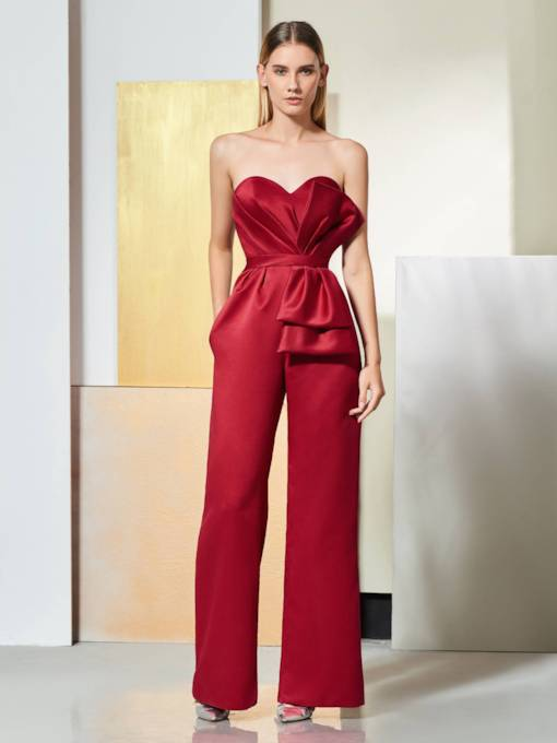 Sweetheart Pleats Pockets Bowknot Mother Jumpsuits