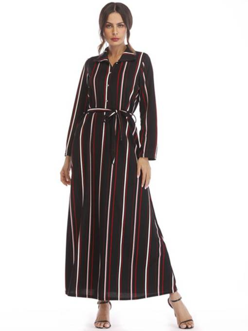 Long Sleeve Belt Waist Stripe Maxi Dress