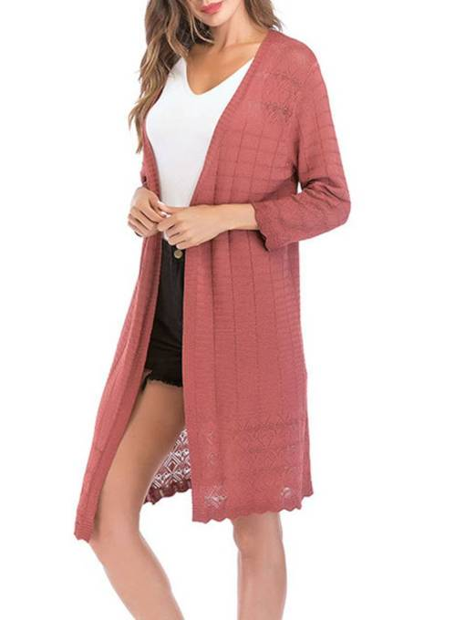 Slim Fit Knit Solid Color Women's Long Kimono