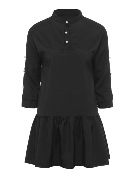 Long Sleeve Ruffle Hem Women's Day Dress