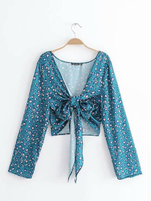 Bowknot Plunge Mixed Printed Women's Blouse