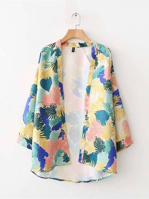 Floral Loose Fit Color Block Women's Kimono