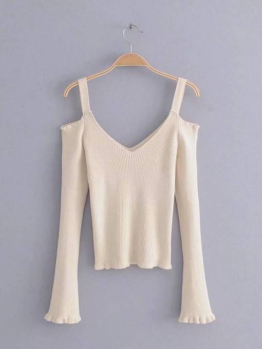 Flare Sleeve Cold Shoulder Women's Sweater