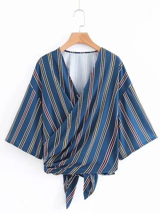 Batwing Sleeve Stripe Wrap Top Women's Blouse