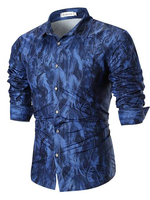 Leather Print Lapel Loose Men's Shirt