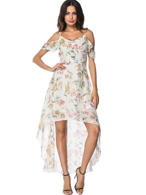 V-Neck Floral Prints Women's Day Dress