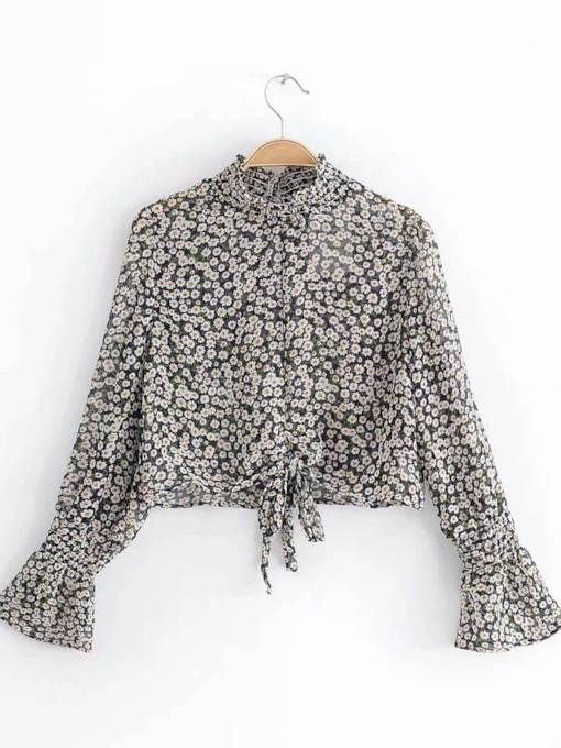 Flare Sleeve Floral Stand Collar Women's Blouse