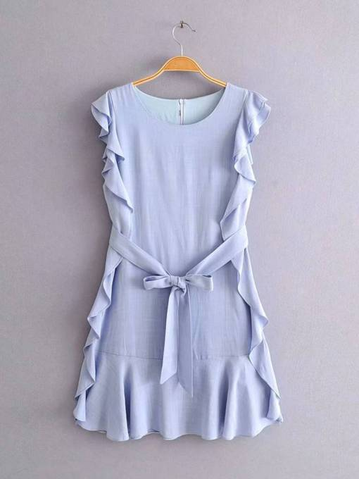 Cap Sleeve Round Neck Back Zip Ruffle Day Dress