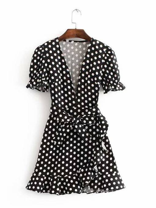 Polka Dots Short Sleeve Belt Day Dress