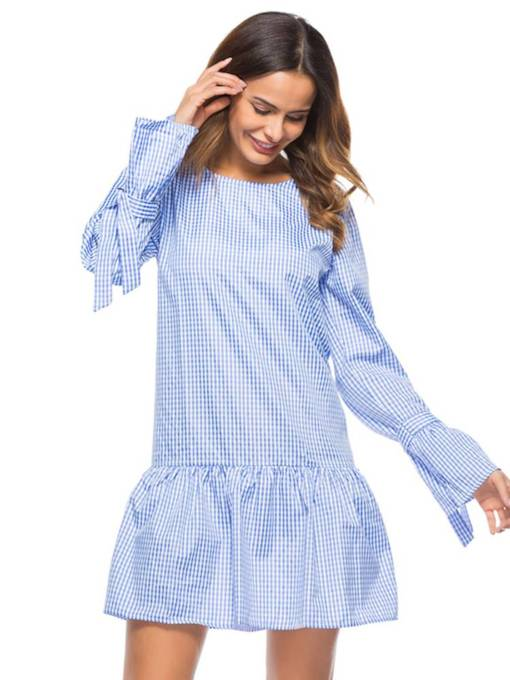 Flare Sleeve Lace-Up Casual Day Dress