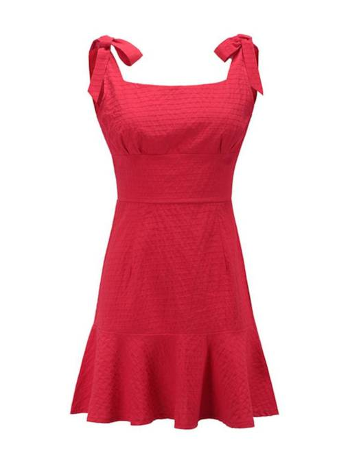 Square Neck Backless Bowknot Day Dress