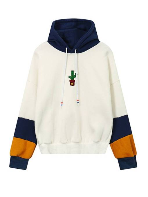 Plain Color Block Cactus Embroidery Women's Hoodie
