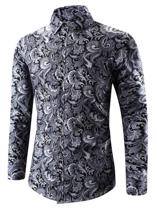 Lapel Ethnic Print Loose Men's Shirt
