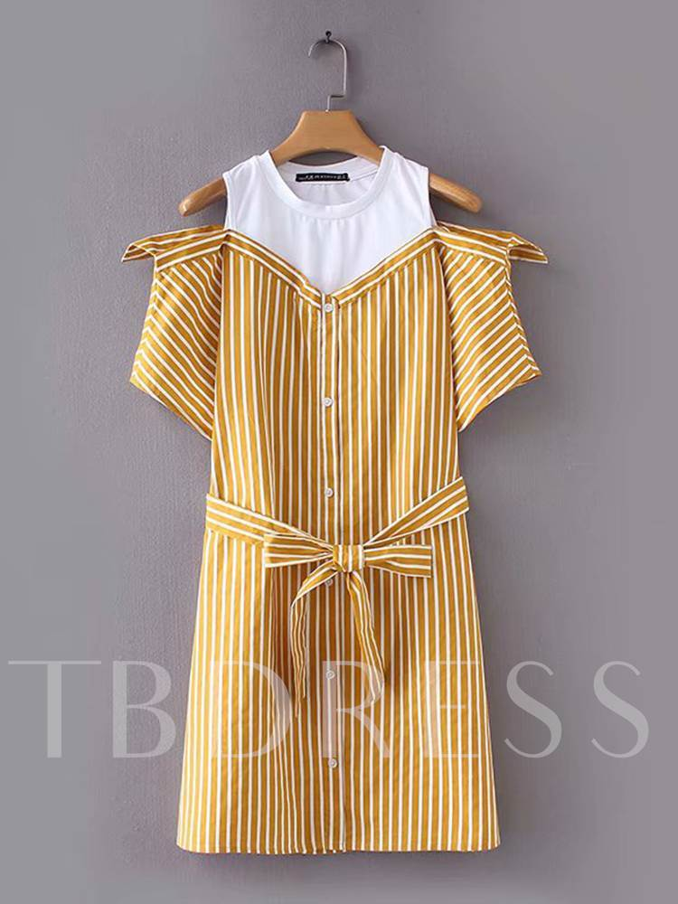 Buy Short Sleeve Belt Casual Button Day Dress, Summer, 13347170 for $21.32 in TBDress store