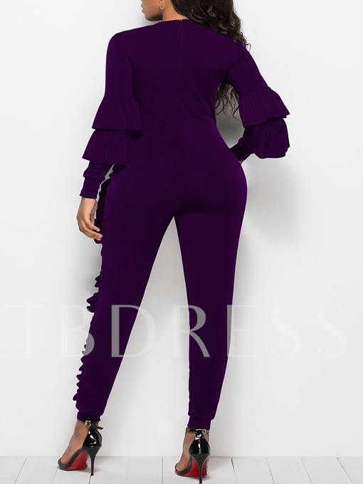 Ruffle Stripe Long Sleeve Women's Jumpsuit
