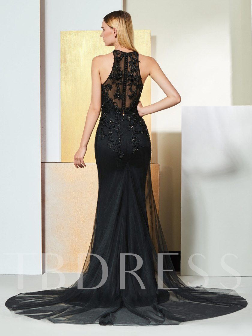 Trumpet Button Appliques Beading Jewel Evening Dress