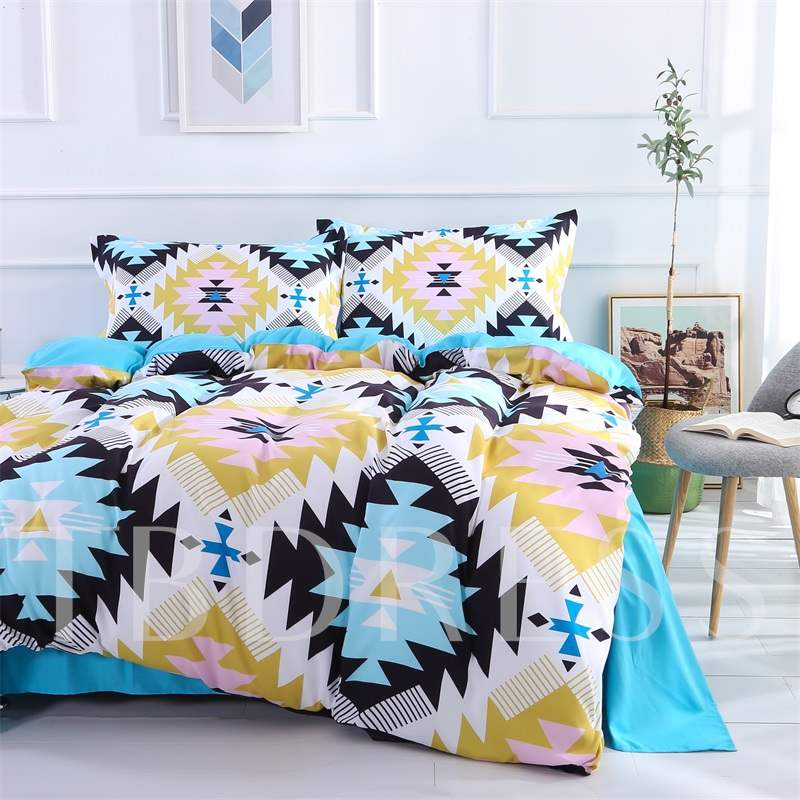 Blue And Pink Geometry Pattern Polyester 4-Piece Bedding Sets/Duvet Cover