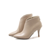 Pointed Toe Stiletto Heel Back Zip Ankle Boots for Women