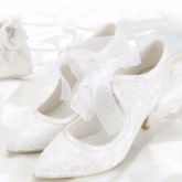Lace Stiletto Heel Pointed Toe Pure White Wedding Shoes