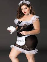 Falbala See-Through Plus Size Maid Costume
