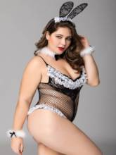Fishnet Hollow Plus Size Bunny Costume Sexy Teddy
