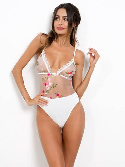 Sexy Lingerie Lace Floral Embroidery Teddy Sexy Lingerie Lace Floral Embroidery Teddy