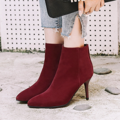 Side Zipper Short Floss Pointed Toe Rivet Casual Women's Ankle Boots