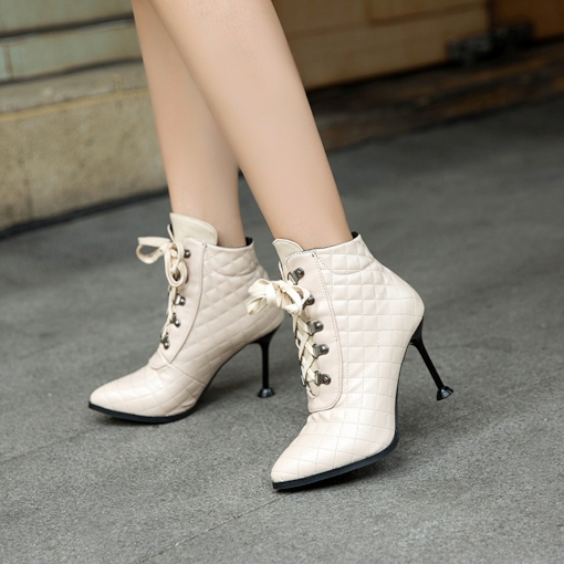 Pointed Toe Spool Heel Lace-Up Front Comfy Women's Ankle Boots